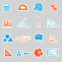 mathematics stickers set eps10