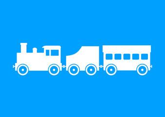 White train on blue background