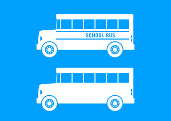 White school bus on blue background