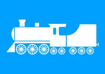White locomotive icon on blue background