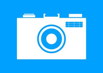 White camera icon on blue background