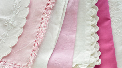 Pretty pink and white table linens