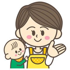 お母さんと赤ちゃん 案内ポーズ