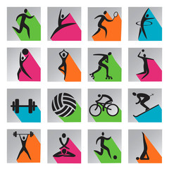 Sport colorful web icons