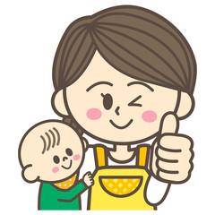お母さんと赤ちゃん グッドポーズ