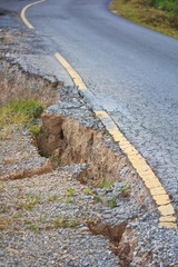 Broken road by an earthquake and landslide