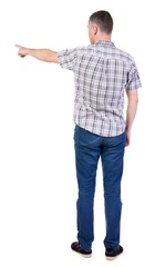 Back view of  pointing young men in  shirt