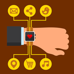 Infographics Arm with a Smartwatch in Flat Design Style. Vector
