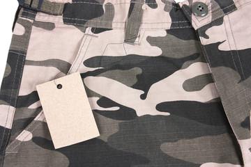 close-up brown camoflauge shorts / pants with tag