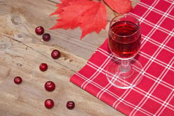 Red fruit liquer, cranberry and red autumn leaf