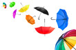 Leinwanddruck Bild - flying umbrellas