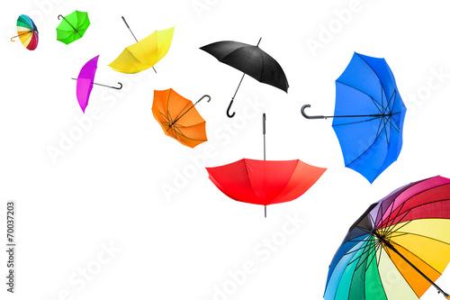 Leinwanddruck Bild flying umbrellas