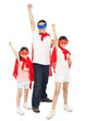 Father and daughters making a superhero pose with red cape