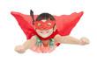superhero girl flying isolated on white background