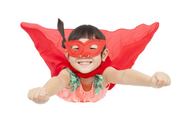 superhero girl flying isolated on white background