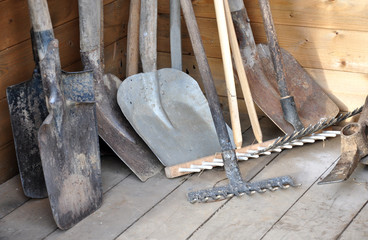 Detailed view of garden tools