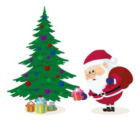 Santa Claus putting gifts under fir tree