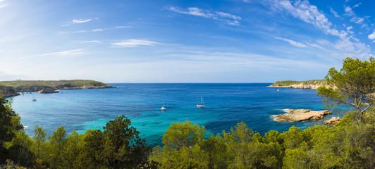 Mediterranean panorama in Ibiza, Balearic islands.