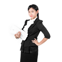 Young pretty business woman holding pile of document unhappy