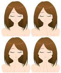 女性 上半身・正面イラスト 4パターン