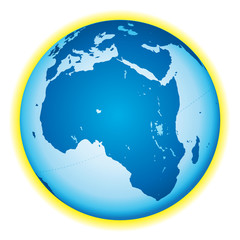 Africa. Globe icon with lakes.