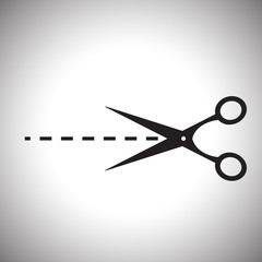 Vector scissors with cut lines isolated