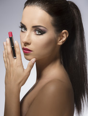 close-up of beauty girl with lipstick