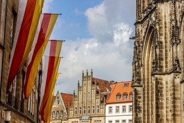 old monumental facades at the Roggenmarkt in Munster, Germany