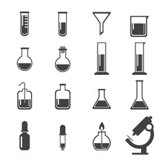 set of laboratory equipment icon