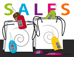 Sales bags. Shopping time. Vector illustration.