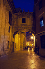 street in  cities of Valencia at night, Spain