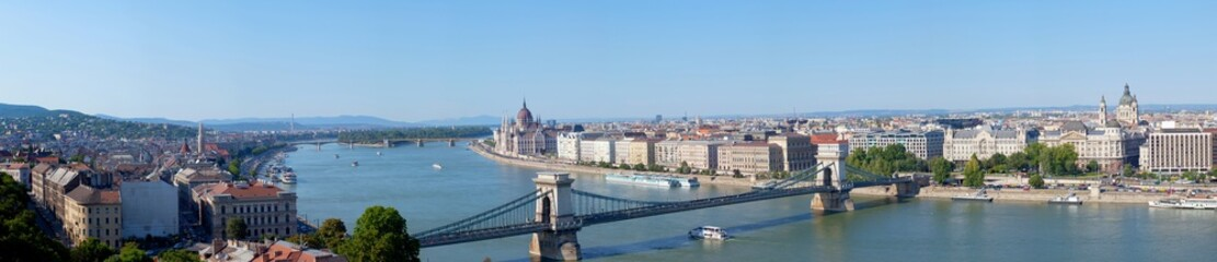 Panoramic summer view to Budapest from a hill Gelert. Hungary