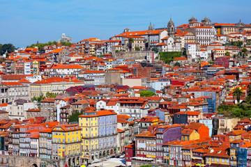 Multi-colored old houses around Ribeyr, Porto, Portugal