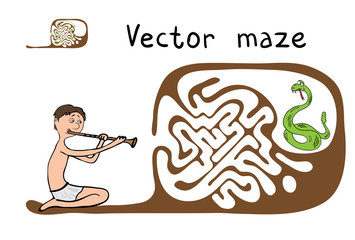 Vector Maze, Labyrinth with Snake and Fakir