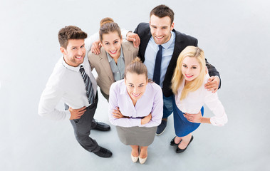 Business group, high angle view