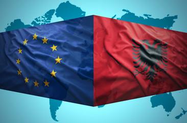 Waving Albanian and European Union flags