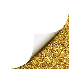 Papierecke mit Glitter - Gold