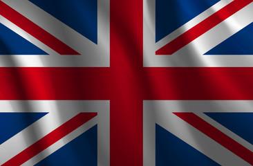 Wavy United Kingdom flag - vector illustration