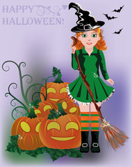 Little cute witch, vector illustration