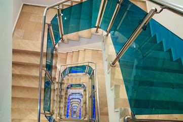 A spiral staircase multistory building
