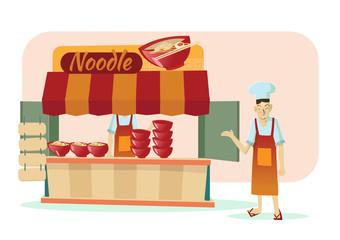 asian noodle shop cartoon vector illustration