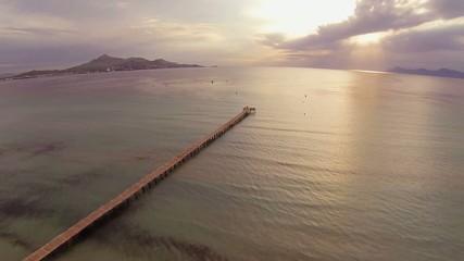 aerial view of pier on beach in majorca, spain
