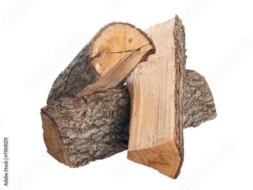 Leinwandbild Motiv Oak firewood. isolated