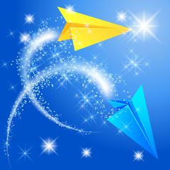 Two paper airplane and glowing stars