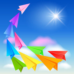 Colorful paper airplanes