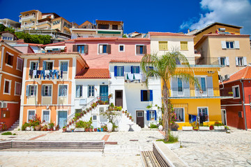 Traditional Greek houses in  of Parga village. Greece.