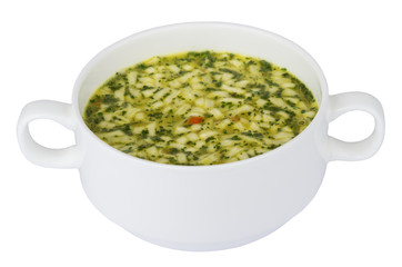 Bowl of soup with pasta