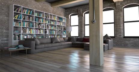 Interno soggiorno vintage con libreria openspace 3d
