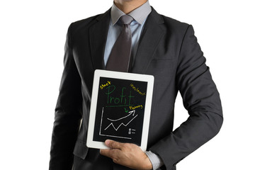 businessman with tablet investment graph take profit