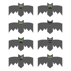Set of bats, decorative icons for Halloween
